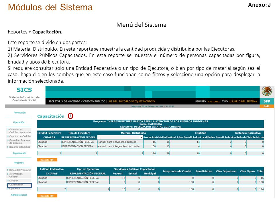 Módulos del Sistema Menú del Sistema Reportes > Capacitación.
