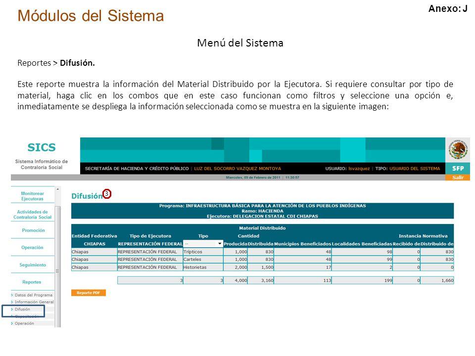 Módulos del Sistema Menú del Sistema Reportes > Difusión.