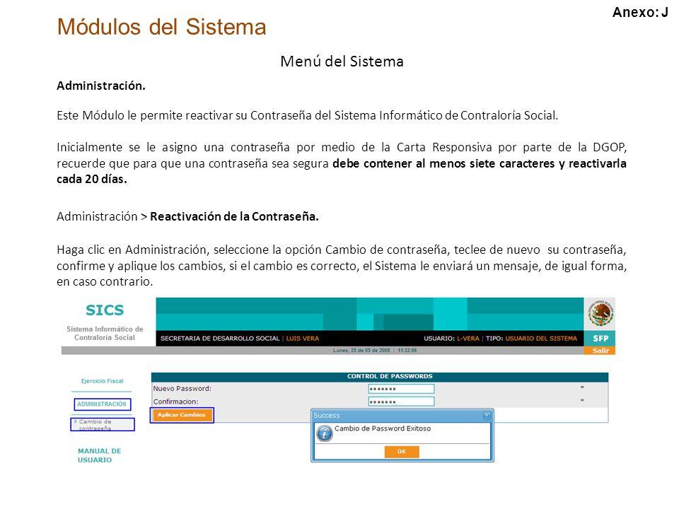 Módulos del Sistema Menú del Sistema Administración.