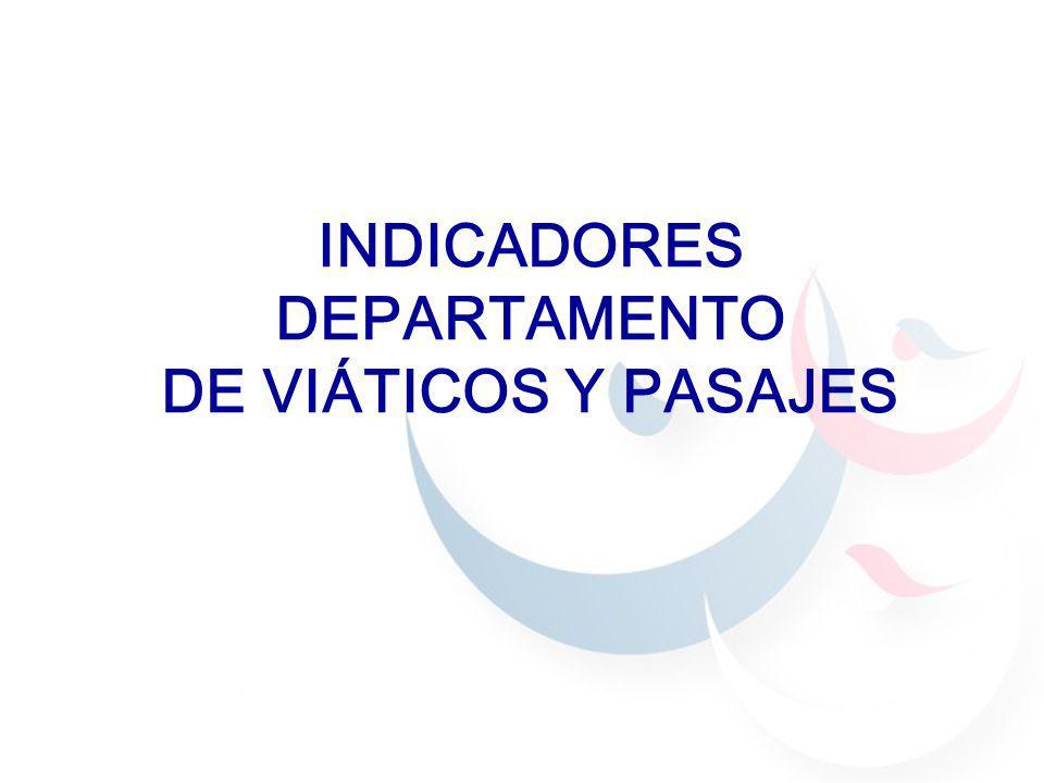 INDICADORES DEPARTAMENTO DE VIÁTICOS Y PASAJES