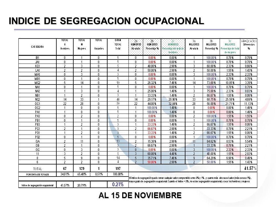 INDICE DE SEGREGACION OCUPACIONAL AL 15 DE NOVIEMBRE