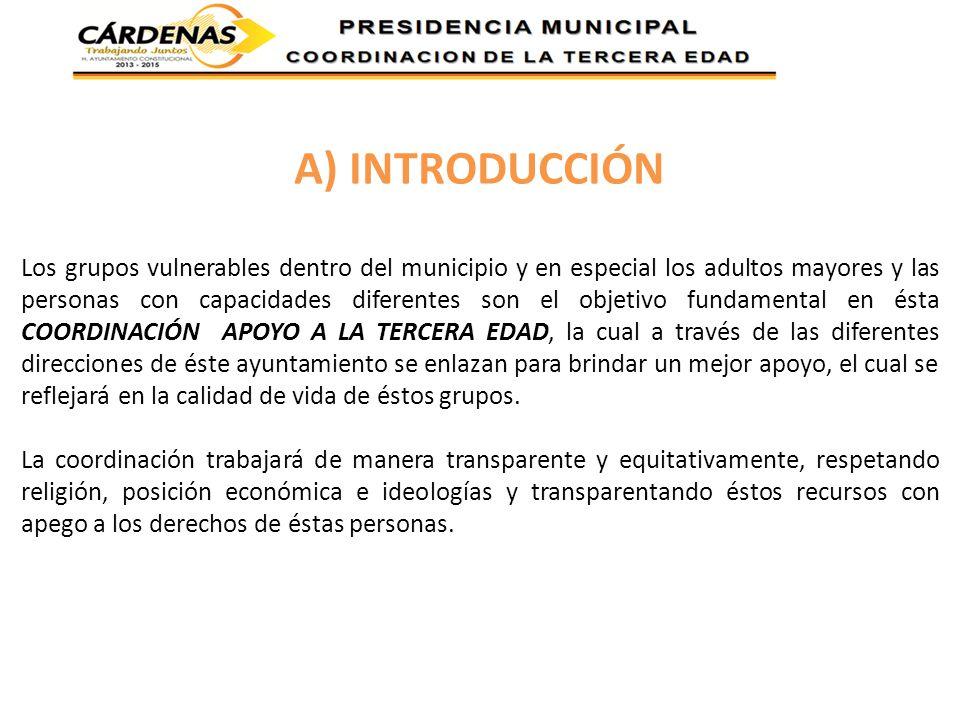 A) INTRODUCCIÓN Los grupos vulnerables dentro del municipio y en especial los adultos mayores y las personas con capacidades diferentes son el objetiv