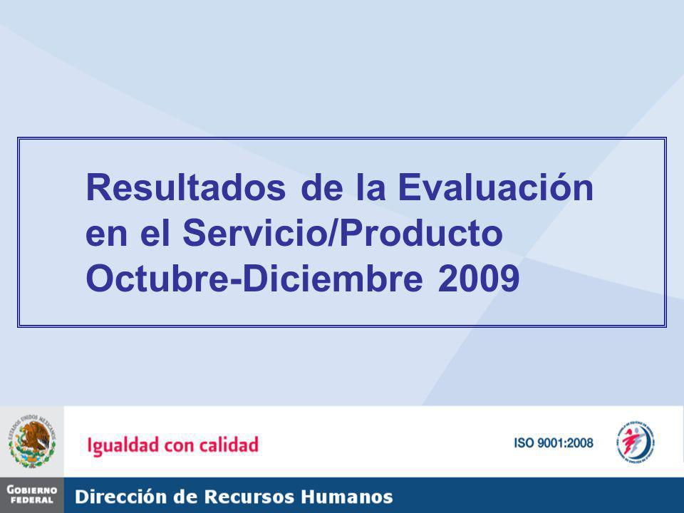 Resultados de la Evaluación en el Servicio/Producto Octubre-Diciembre 2009