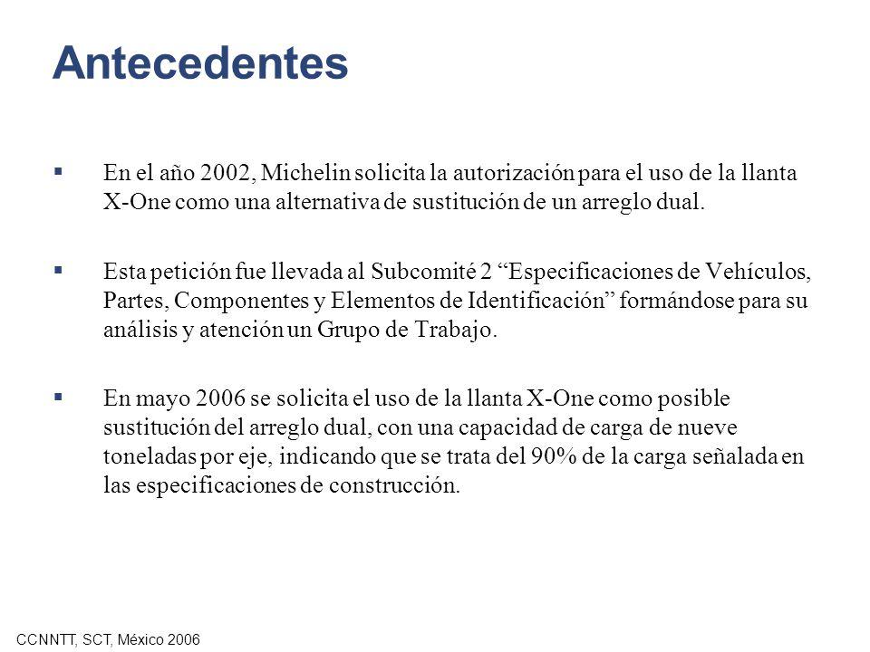 CCNNTT, SCT, México 2006 Antecedentes En el año 2002, Michelin solicita la autorización para el uso de la llanta X-One como una alternativa de sustitu