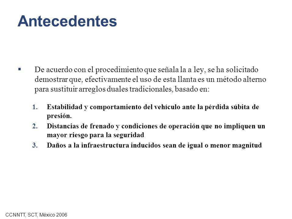 CCNNTT, SCT, México 2006 Antecedentes De acuerdo con el procedimiento que señala la a ley, se ha solicitado demostrar que, efectivamente el uso de est