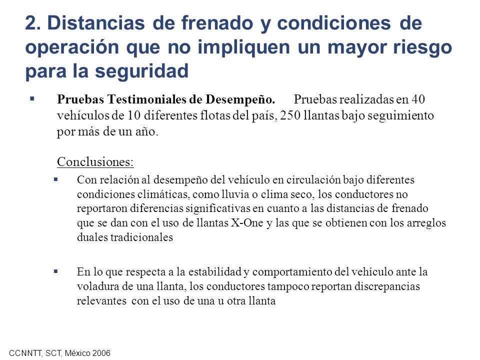 CCNNTT, SCT, México 2006 2. Distancias de frenado y condiciones de operación que no impliquen un mayor riesgo para la seguridad Pruebas Testimoniales