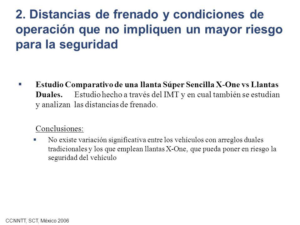 CCNNTT, SCT, México 2006 2. Distancias de frenado y condiciones de operación que no impliquen un mayor riesgo para la seguridad Estudio Comparativo de