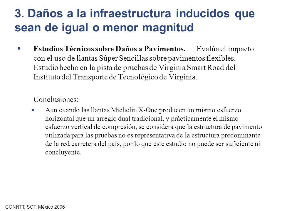CCNNTT, SCT, México 2006 3. Daños a la infraestructura inducidos que sean de igual o menor magnitud Estudios Técnicos sobre Daños a Pavimentos. Evalúa
