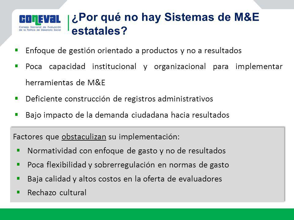 Enfoque de gestión orientado a productos y no a resultados Poca capacidad institucional y organizacional para implementar herramientas de M&E Deficien
