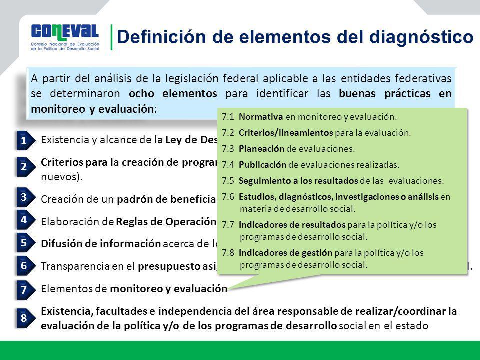 Definición de elementos del diagnóstico A partir del análisis de la legislación federal aplicable a las entidades federativas se determinaron ocho ele