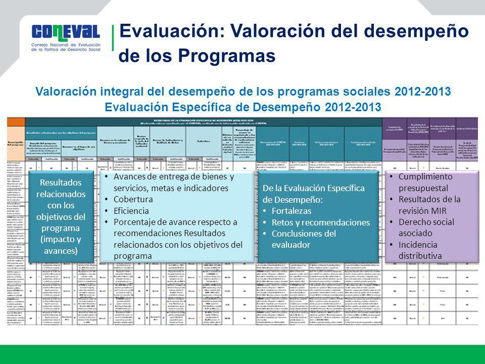 Evaluación: Valoración del desempeño de los Programas Valoración integral del desempeño de los programas sociales 2012-2013 Evaluación Específica de D