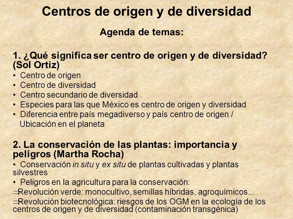 Centros de origen y de diversidad Agenda de temas: 1. ¿Qué significa ser centro de origen y de diversidad? (Sol Ortiz) Centro de origen Centro de dive