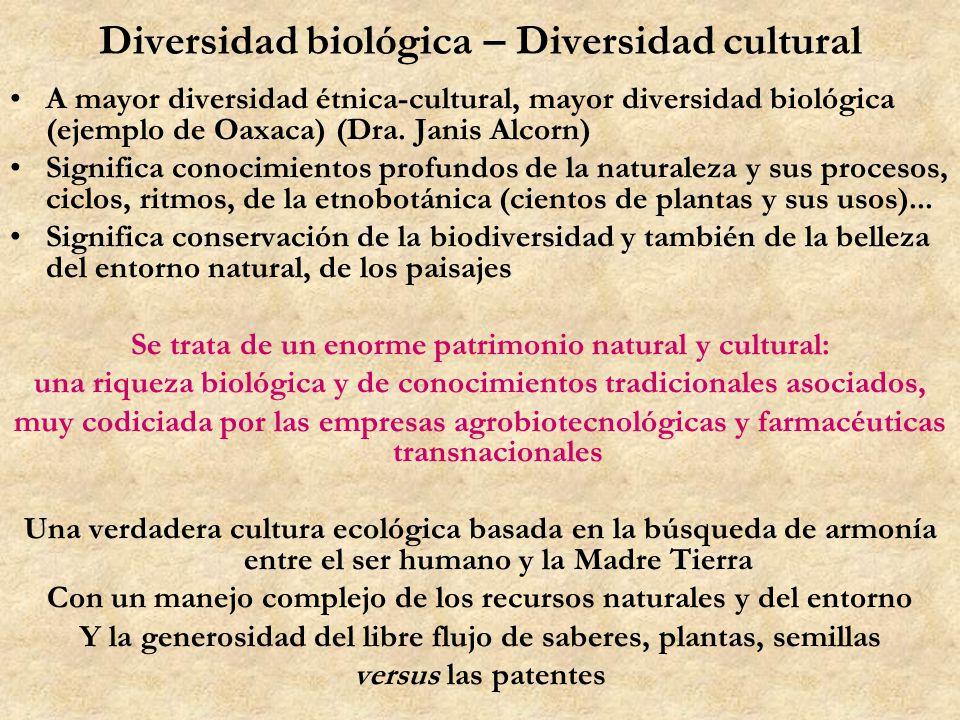 Diversidad biológica – Diversidad cultural A mayor diversidad étnica-cultural, mayor diversidad biológica (ejemplo de Oaxaca) (Dra. Janis Alcorn) Sign