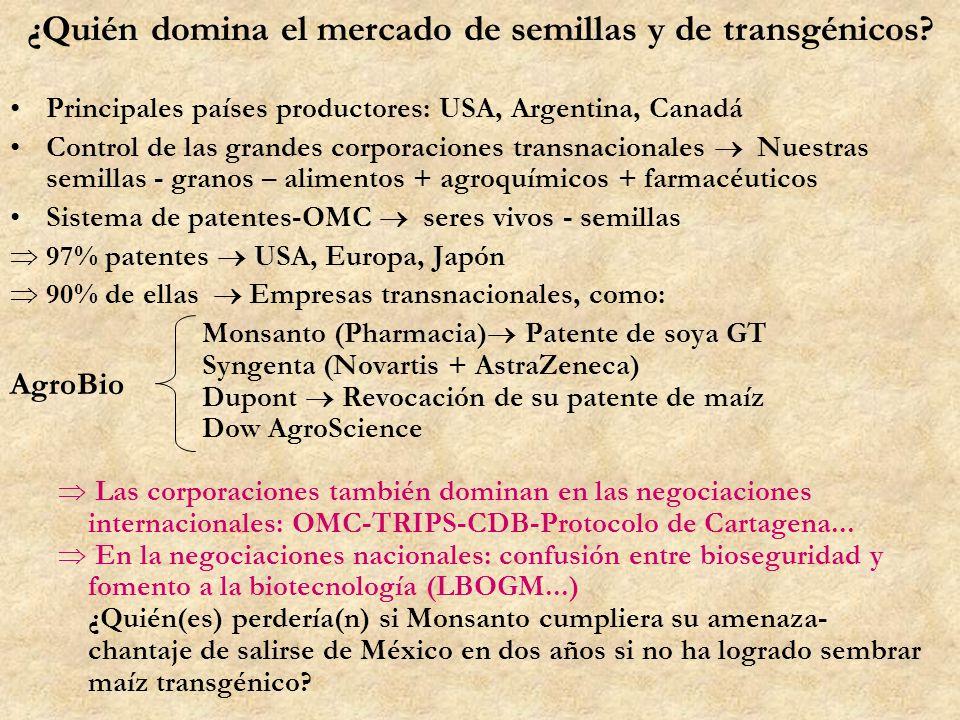 ¿Quién domina el mercado de semillas y de transgénicos? Principales países productores: USA, Argentina, Canadá Control de las grandes corporaciones tr