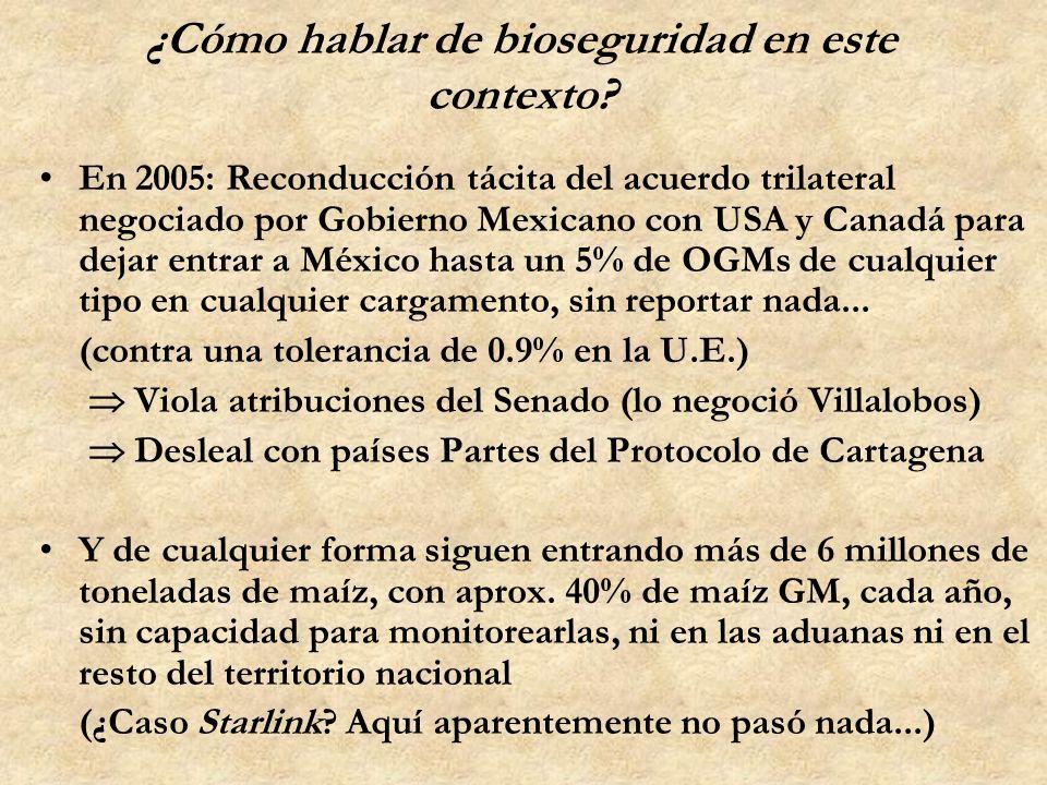 ¿Cómo hablar de bioseguridad en este contexto? En 2005: Reconducción tácita del acuerdo trilateral negociado por Gobierno Mexicano con USA y Canadá pa