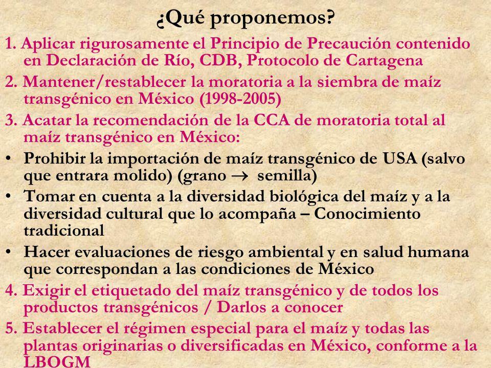 ¿Qué proponemos? 1. Aplicar rigurosamente el Principio de Precaución contenido en Declaración de Río, CDB, Protocolo de Cartagena 2. Mantener/restable