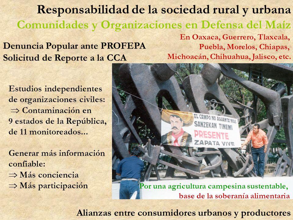 Por una agricultura campesina sustentable, base de la soberanía alimentaria Responsabilidad de la sociedad rural y urbana Comunidades y Organizaciones