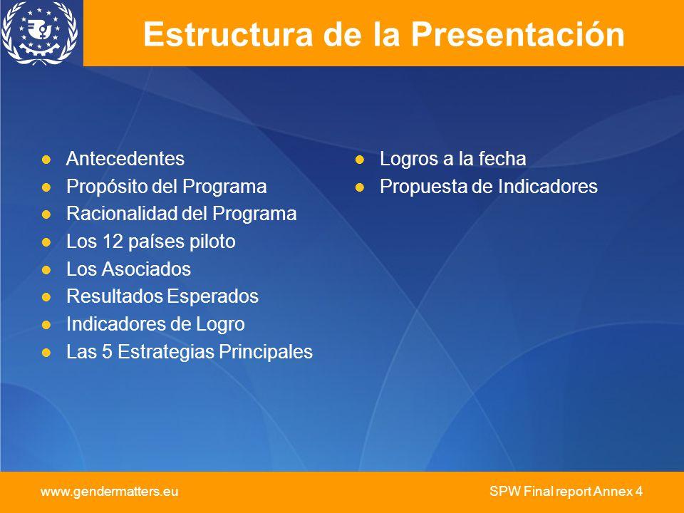SPW Final report Annex 4 Estructura de la Presentación Antecedentes Propósito del Programa Racionalidad del Programa Los 12 países piloto Los Asociado