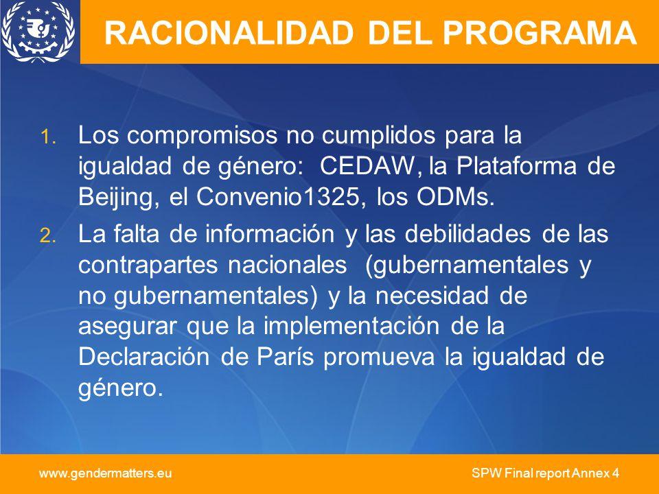 www.gendermatters.eu SPW Final report Annex 4 RACIONALIDAD DEL PROGRAMA 1. Los compromisos no cumplidos para la igualdad de género: CEDAW, la Platafor