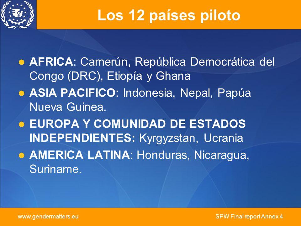 www.gendermatters.eu SPW Final report Annex 4 Los 12 países piloto AFRICA: Camerún, República Democrática del Congo (DRC), Etiopía y Ghana ASIA PACIFICO: Indonesia, Nepal, Papúa Nueva Guinea.