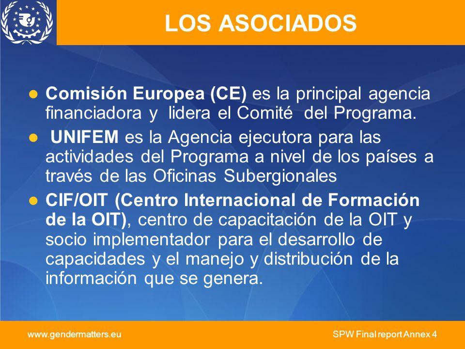 www.gendermatters.eu SPW Final report Annex 4 LOS ASOCIADOS Comisión Europea (CE) es la principal agencia financiadora y lidera el Comité del Programa