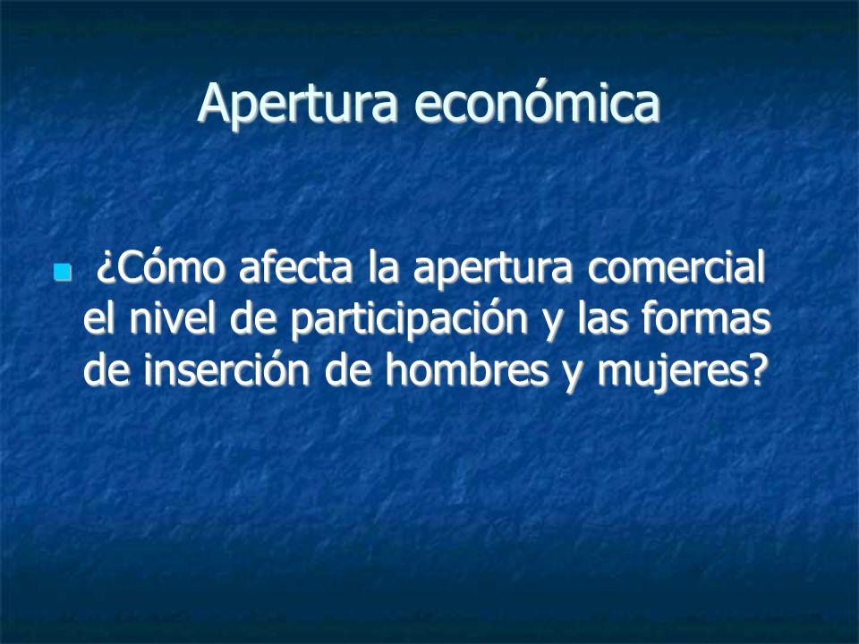 Apertura económica ¿Cómo afecta la apertura comercial el nivel de participación y las formas de inserción de hombres y mujeres? ¿Cómo afecta la apertu