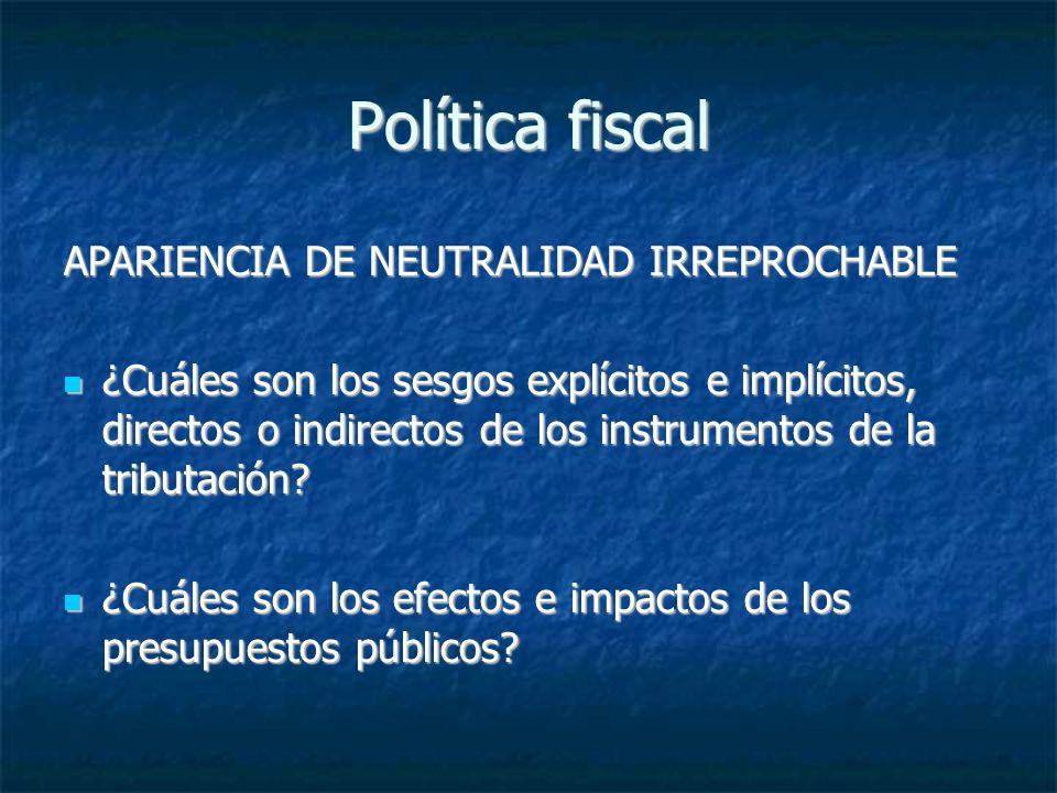 Política fiscal APARIENCIA DE NEUTRALIDAD IRREPROCHABLE ¿Cuáles son los sesgos explícitos e implícitos, directos o indirectos de los instrumentos de l