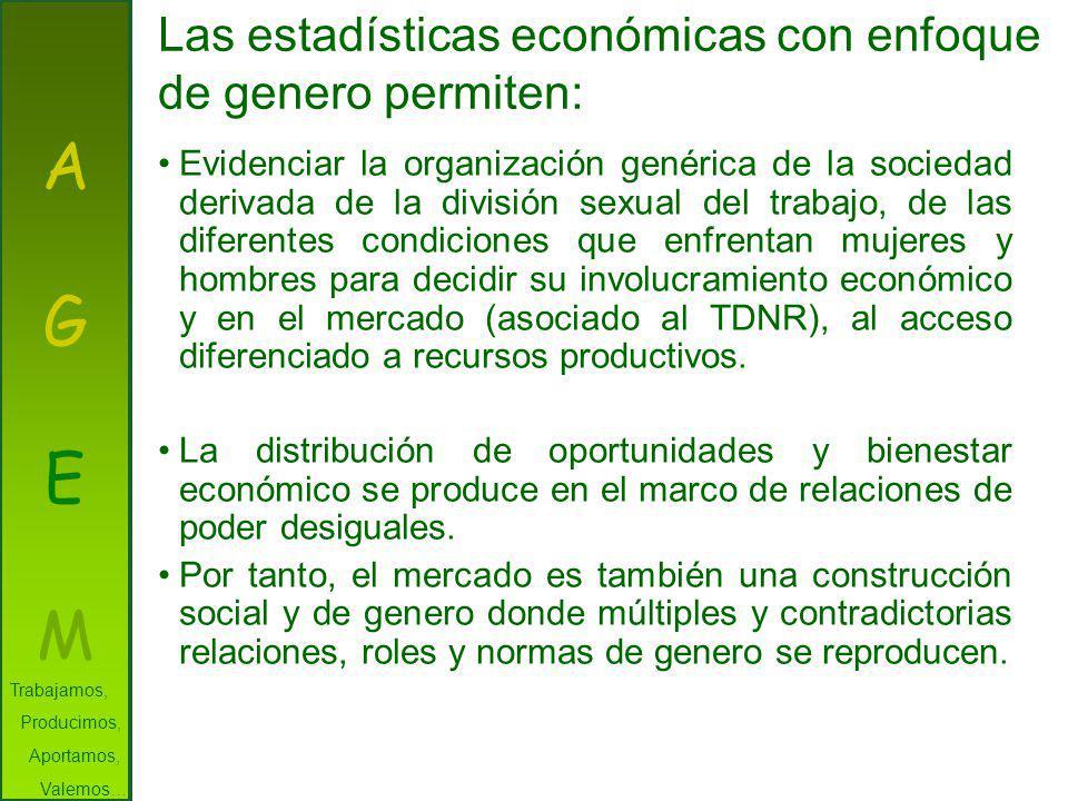 AGEMAGEM Las estadísticas económicas con enfoque de genero permiten: Evidenciar la organización genérica de la sociedad derivada de la división sexual