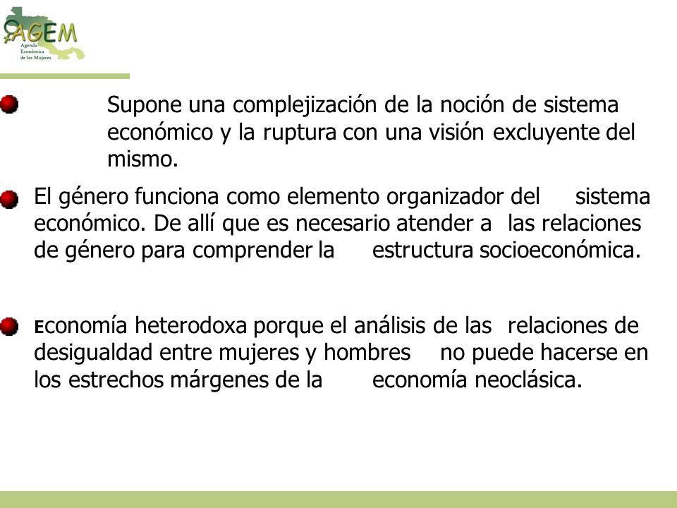 Planteamientos centrales de la economía feminista: Supone una complejización de la noción de sistema económico y la ruptura con una visión excluyente