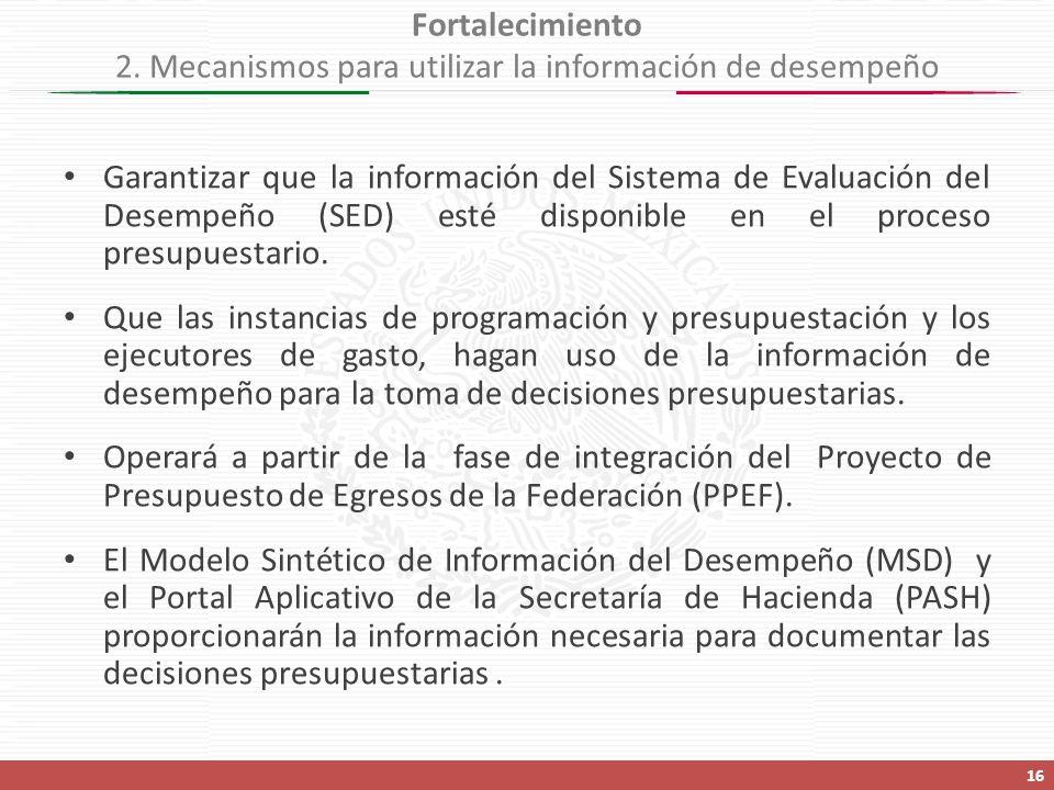 Garantizar que la información del Sistema de Evaluación del Desempeño (SED) esté disponible en el proceso presupuestario.