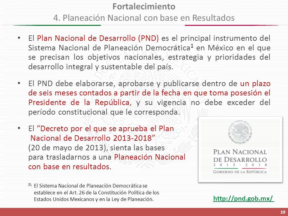 El Plan Nacional de Desarrollo (PND) es el principal instrumento del Sistema Nacional de Planeación Democrática 1 en México en el que se precisan los objetivos nacionales, estrategia y prioridades del desarrollo integral y sustentable del país.