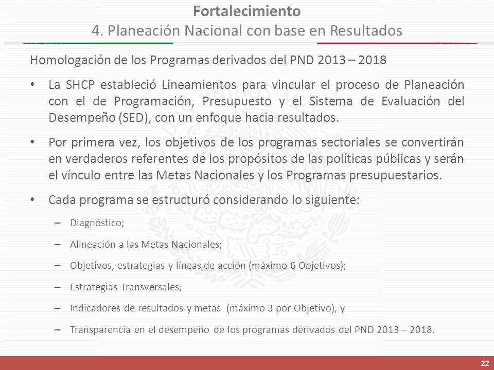 Homologación de los Programas derivados del PND 2013 – 2018 La SHCP estableció Lineamientos para vincular el proceso de Planeación con el de Programación, Presupuesto y el Sistema de Evaluación del Desempeño (SED), con un enfoque hacia resultados.