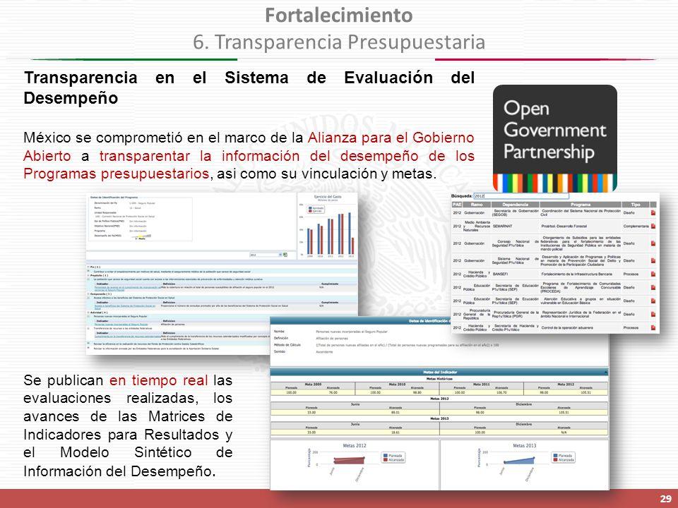 Transparencia en el Sistema de Evaluación del Desempeño México se comprometió en el marco de la Alianza para el Gobierno Abierto a transparentar la información del desempeño de los Programas presupuestarios, asi como su vinculación y metas.