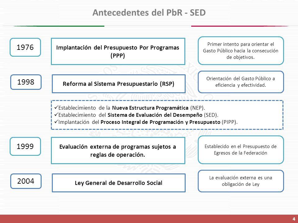 Antecedentes del PbR - SED 4 1976 Implantación del Presupuesto Por Programas (PPP) Primer intento para orientar el Gasto Público hacia la consecución de objetivos.