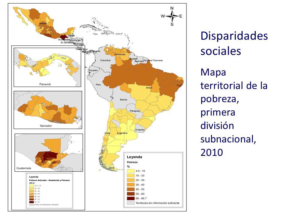 Disparidades sociales Mapa territorial de la pobreza, primera división subnacional, 2010