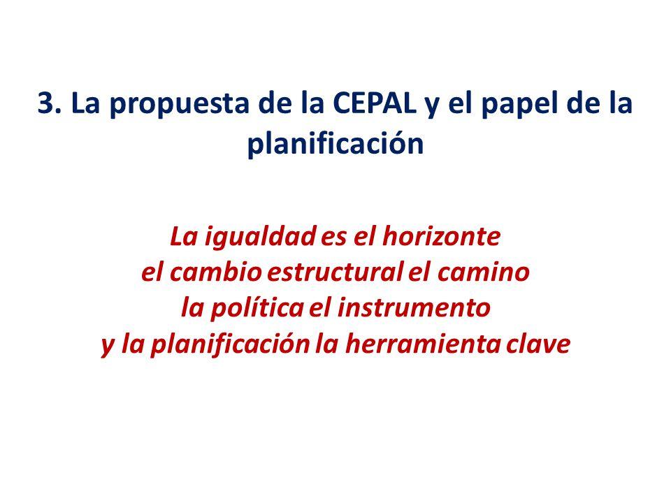 3. La propuesta de la CEPAL y el papel de la planificación La igualdad es el horizonte el cambio estructural el camino la política el instrumento y la