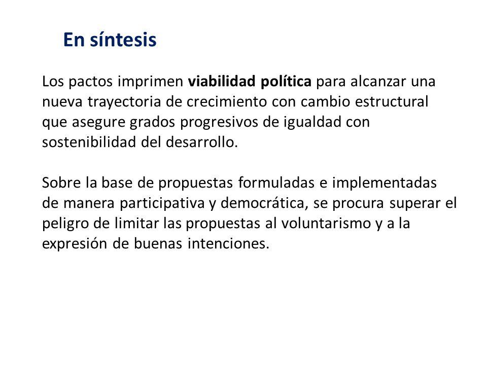 Los pactos imprimen viabilidad política para alcanzar una nueva trayectoria de crecimiento con cambio estructural que asegure grados progresivos de ig