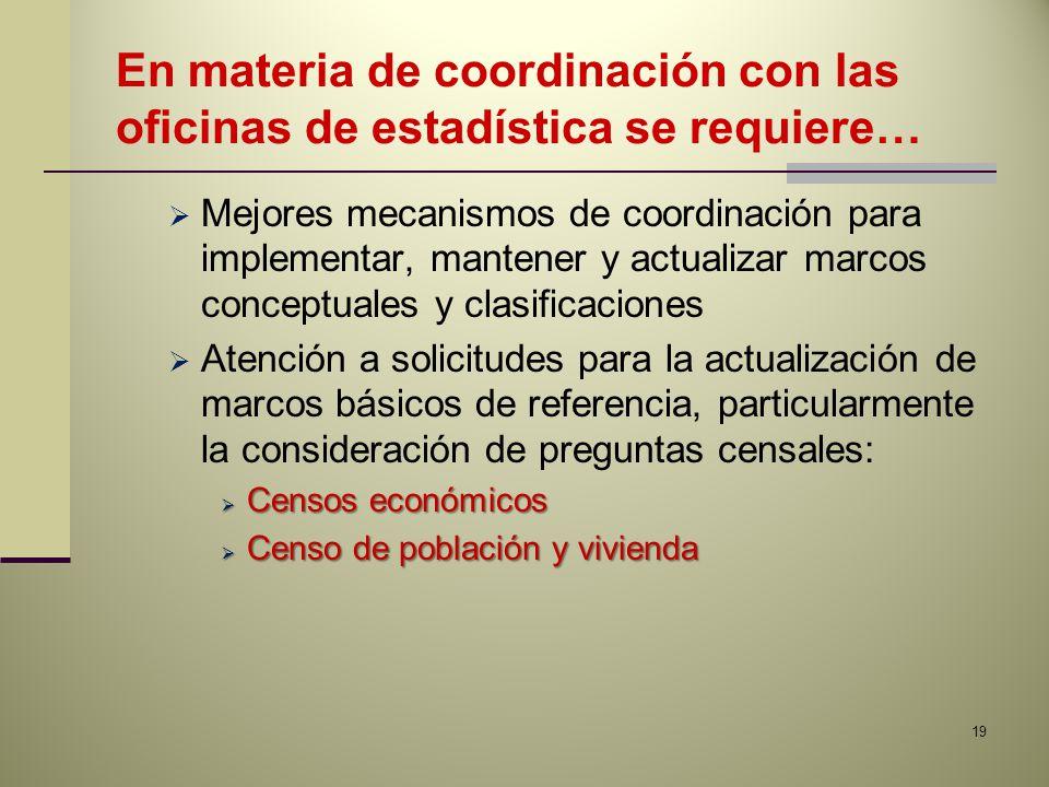 En materia de coordinación con las oficinas de estadística se requiere… Mejores mecanismos de coordinación para implementar, mantener y actualizar mar