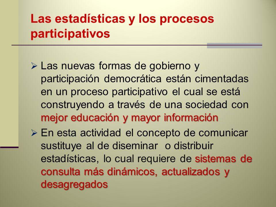 Las estadísticas y los procesos participativos mejor educación y mayor información Las nuevas formas de gobierno y participación democrática están cim