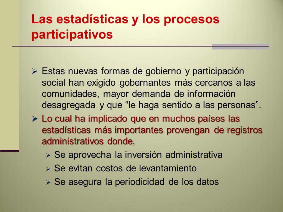 Las estadísticas y los procesos participativos Estas nuevas formas de gobierno y participación social han exigido gobernantes más cercanos a las comunidades, mayor demanda de información desagregada y que le haga sentido a las personas.