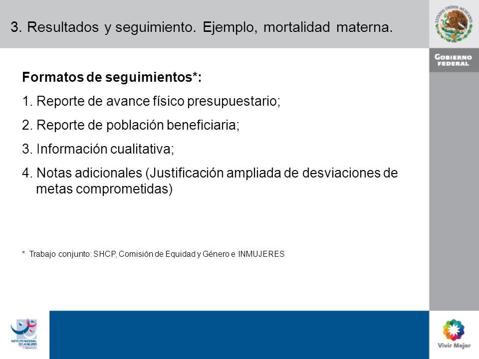 3. Resultados y seguimiento. Ejemplo, mortalidad materna.