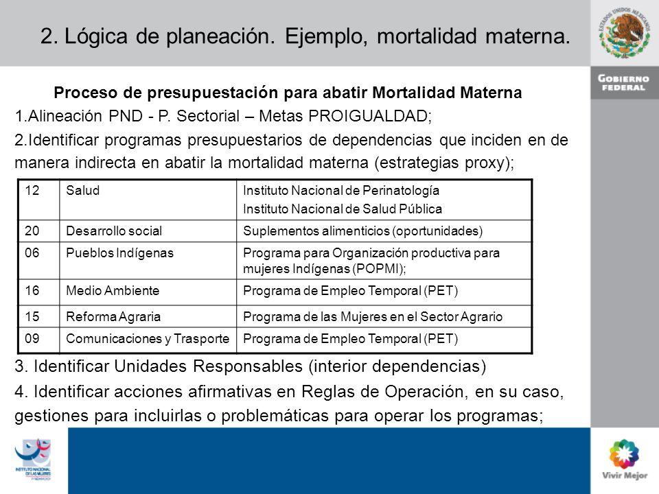 2. Lógica de planeación. Ejemplo, mortalidad materna.