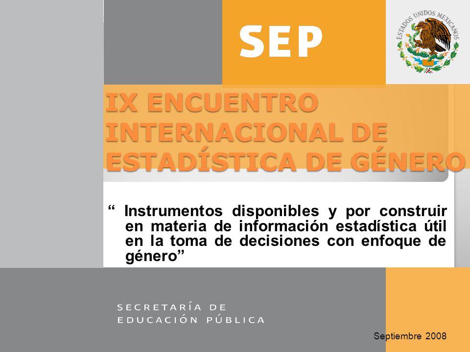 Instrumentos disponibles y por construir en materia de información estadística útil en la toma de decisiones con enfoque de género Septiembre 2008 IX ENCUENTRO INTERNACIONAL DE ESTADÍSTICA DE GÉNERO