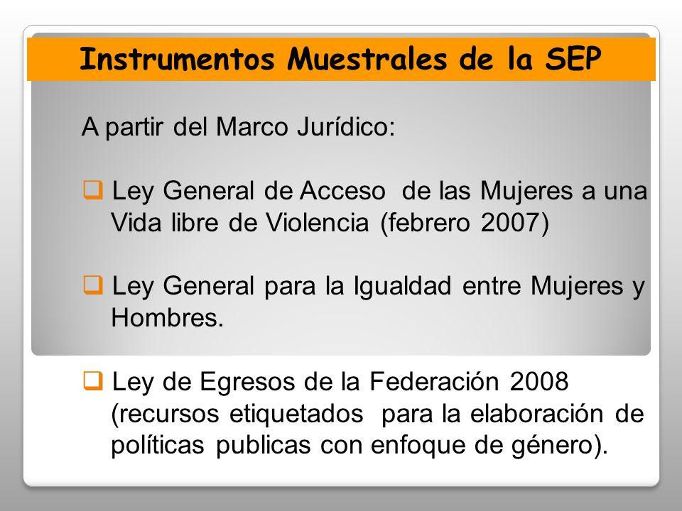 Instrumentos Muestrales de la SEP A partir del Marco Jurídico: Ley General de Acceso de las Mujeres a una Vida libre de Violencia (febrero 2007) Ley General para la Igualdad entre Mujeres y Hombres.