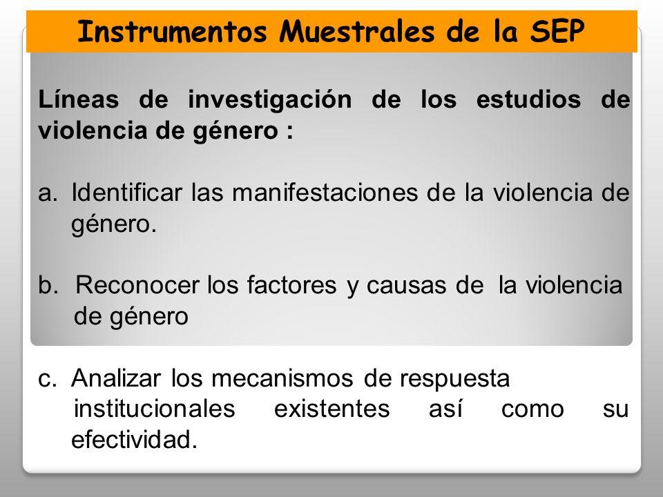 Instrumentos Muestrales de la SEP Líneas de investigación de los estudios de violencia de género : a.Identificar las manifestaciones de la violencia de género.