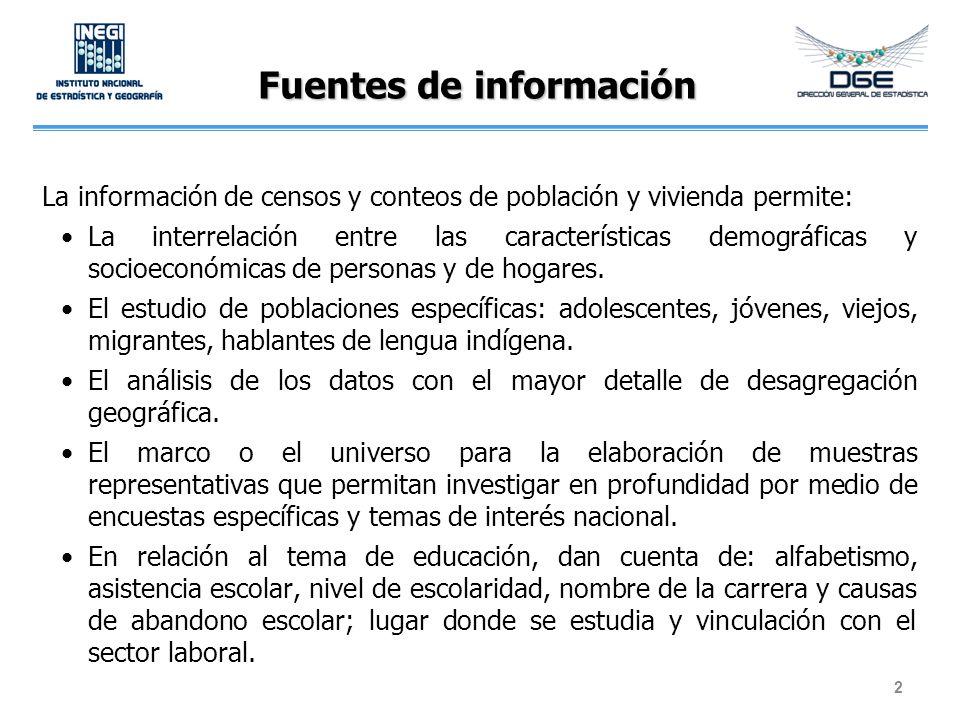 Fuentes de información La información de censos y conteos de población y vivienda permite: La interrelación entre las características demográficas y s