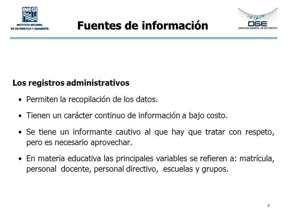 Fuentes de información Los registros administrativos Permiten la recopilación de los datos. Tienen un carácter continuo de información a bajo costo. S