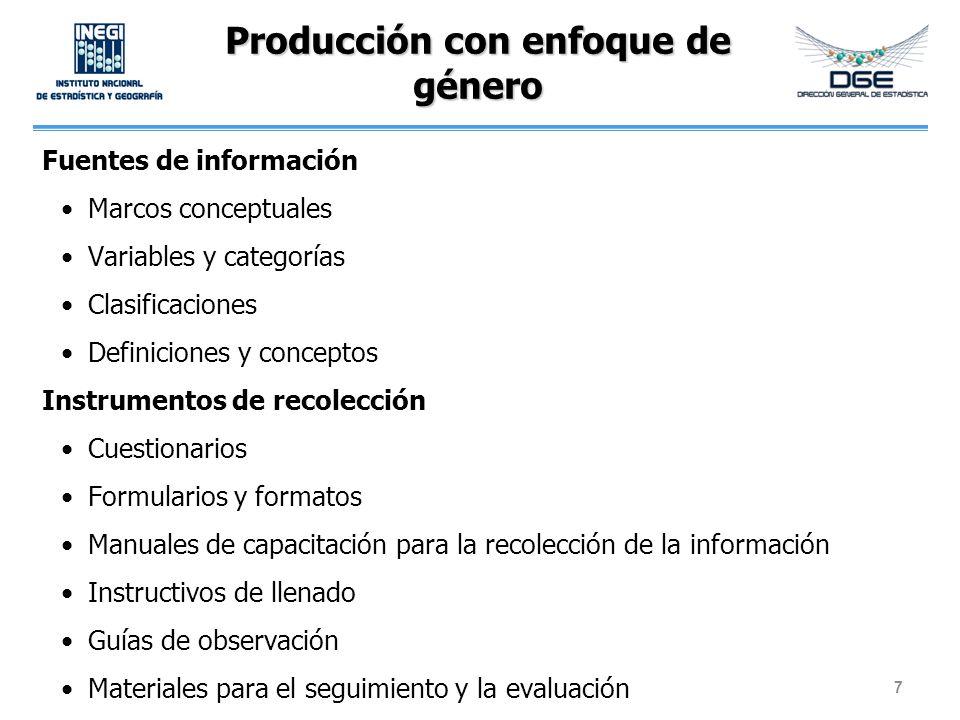 Producción con enfoque de género Fuentes de información Marcos conceptuales Variables y categorías Clasificaciones Definiciones y conceptos Instrument