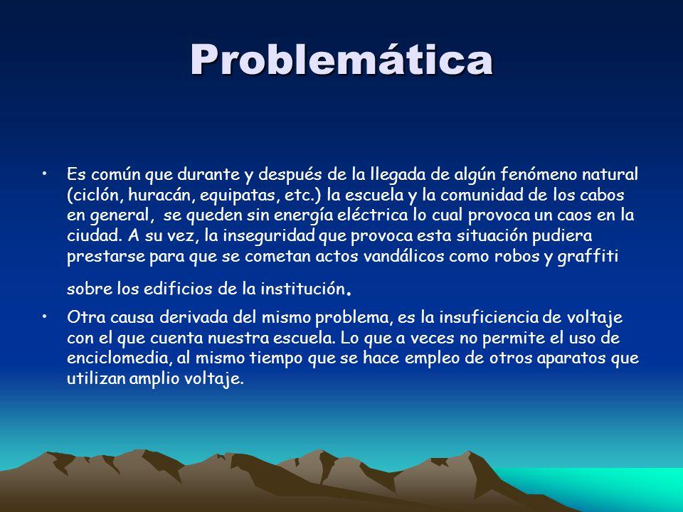 Problemática Es común que durante y después de la llegada de algún fenómeno natural (ciclón, huracán, equipatas, etc.) la escuela y la comunidad de lo