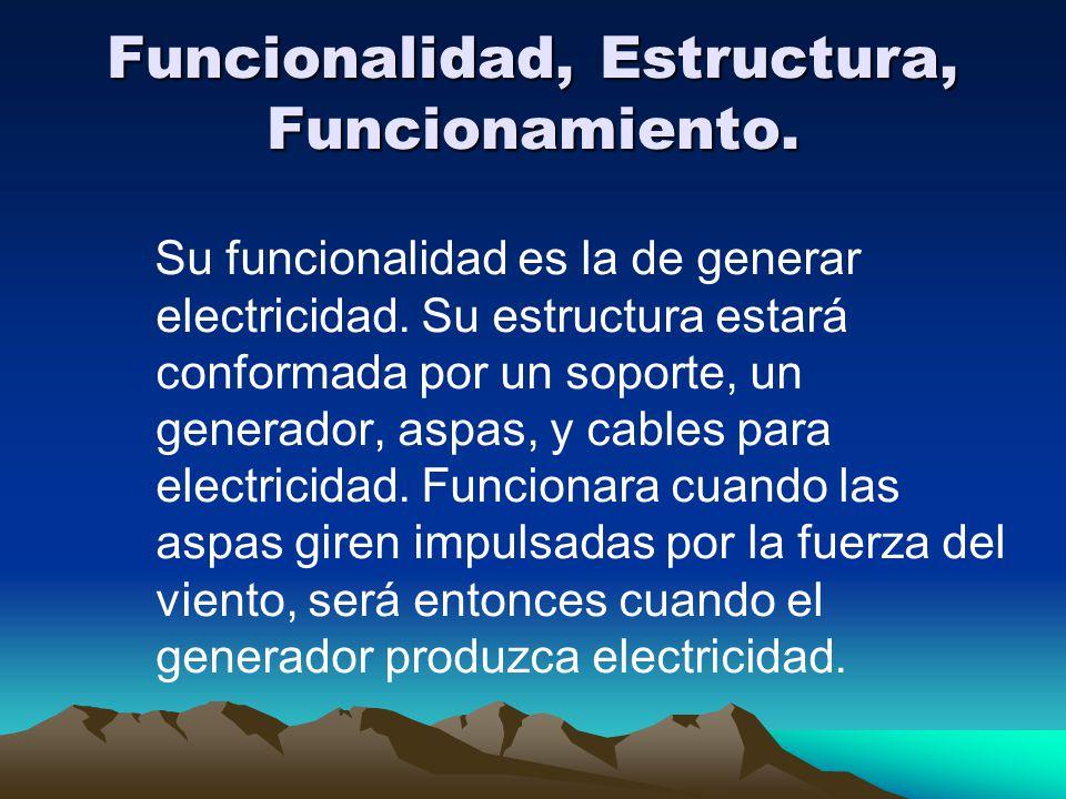 Funcionalidad, Estructura, Funcionamiento. Su funcionalidad es la de generar electricidad. Su estructura estará conformada por un soporte, un generado